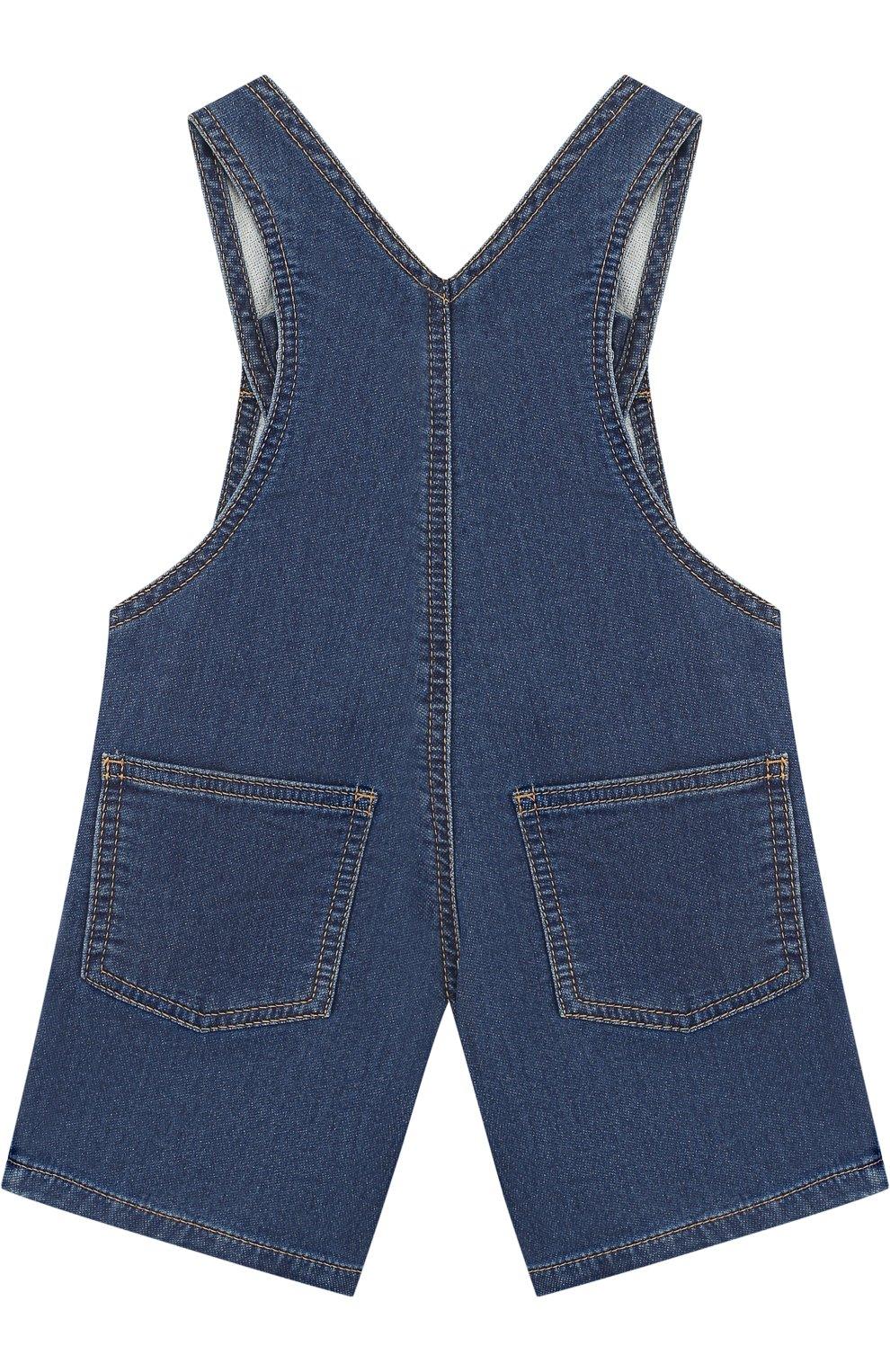 Детский джинсовый комбинезон с аппликациями KENZO синего цвета, арт. KL21007/2A | Фото 2