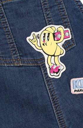 Детский джинсовый комбинезон с аппликациями KENZO синего цвета, арт. KL21007/2A | Фото 3