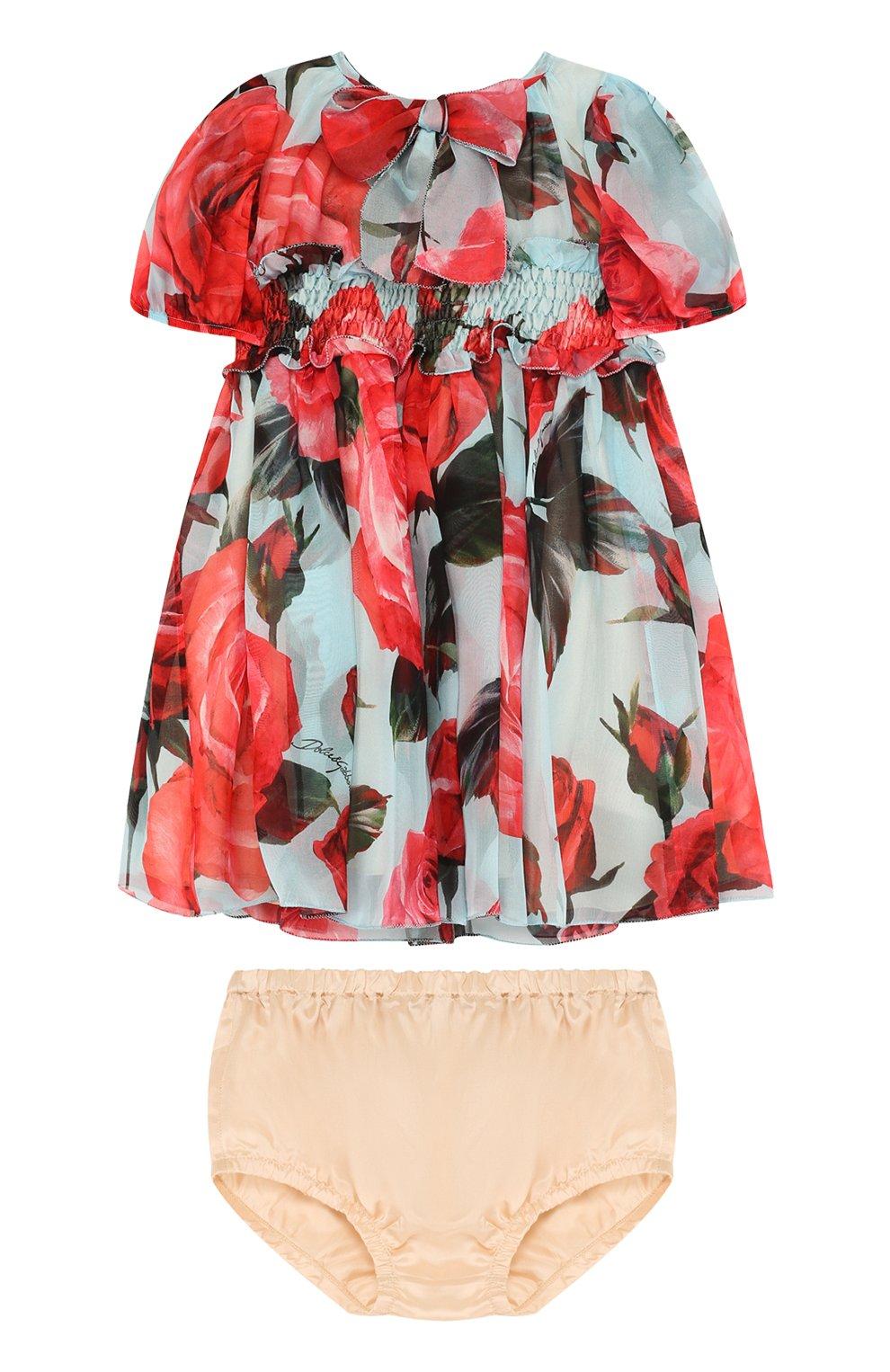 Женская шелковый комплект из платья и трусов DOLCE & GABBANA голубого цвета, арт. L29D48/HS1TU   Фото 1