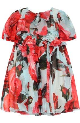 Женская шелковый комплект из платья и трусов DOLCE & GABBANA голубого цвета, арт. L29D48/HS1TU   Фото 2