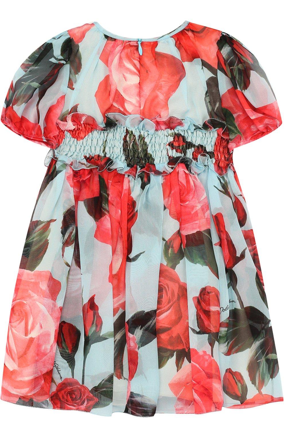 Женская шелковый комплект из платья и трусов DOLCE & GABBANA голубого цвета, арт. L29D48/HS1TU   Фото 3