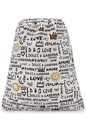 Детская текстильный рюкзак с принтом DOLCE & GABBANA белого цвета, арт. EM0050/AN626   Фото 1