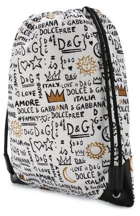 Детская текстильный рюкзак с принтом DOLCE & GABBANA белого цвета, арт. EM0050/AN626   Фото 2