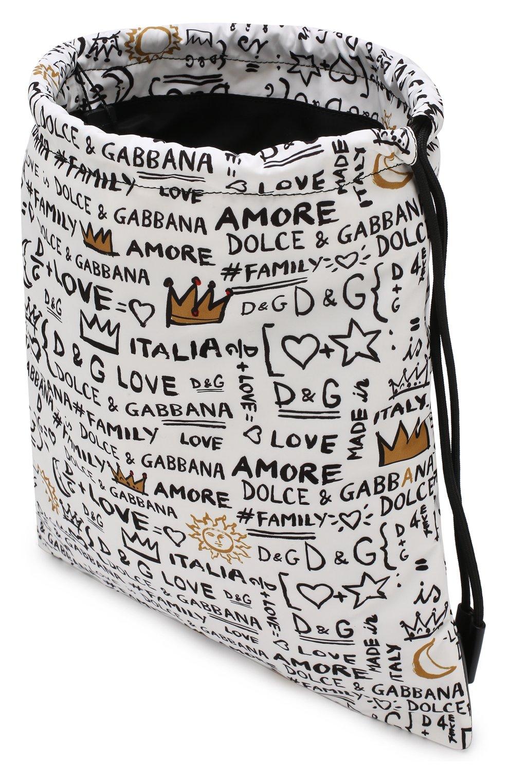 Детская текстильный рюкзак с принтом DOLCE & GABBANA белого цвета, арт. EM0050/AN626   Фото 3