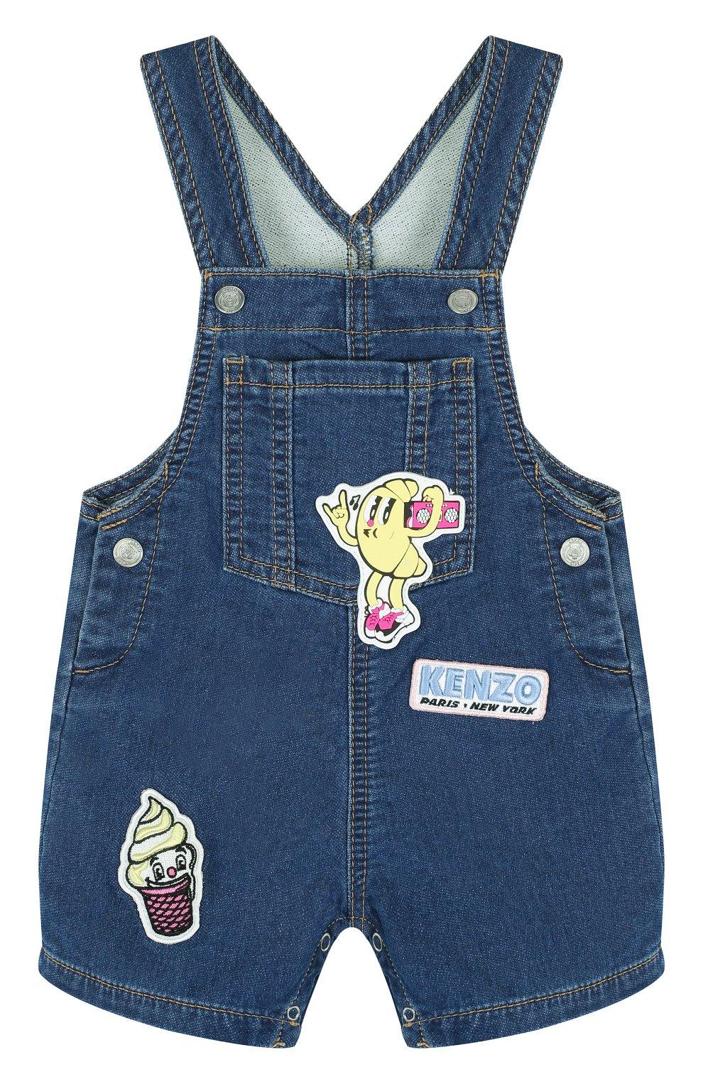 Детский джинсовый комбинезон с аппликациями KENZO синего цвета, арт. KL21007/6M-18M   Фото 1