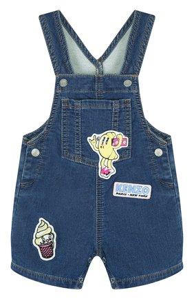 Детский джинсовый комбинезон с аппликациями KENZO синего цвета, арт. KL21007/6M-18M | Фото 1