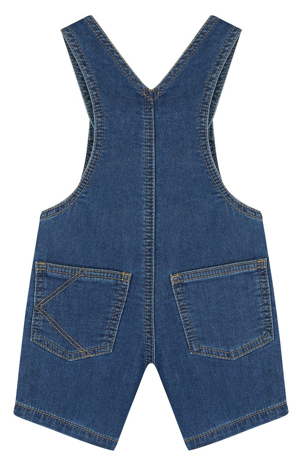 Детский джинсовый комбинезон с аппликациями KENZO синего цвета, арт. KL21007/6M-18M   Фото 2