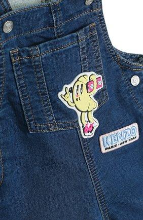 Детский джинсовый комбинезон с аппликациями KENZO синего цвета, арт. KL21007/6M-18M   Фото 3