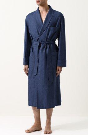 Мужской халат из смеси шелка и кашемира с поясом и шалевым воротником LORO PIANA синего цвета, арт. FAI0310 | Фото 2