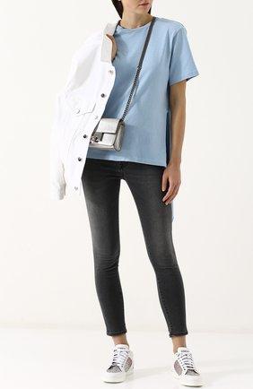 Укороченные джинсы-скинни с потертостями Two Women In The World серые | Фото №1
