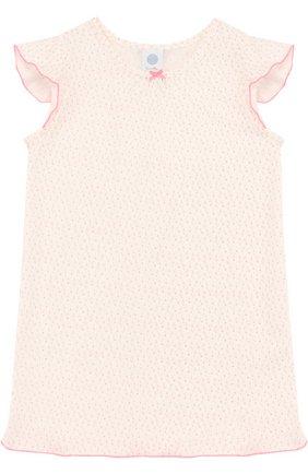 Детская хлопковая сорочка с принтом SANETTA бежевого цвета, арт. 232076 | Фото 1