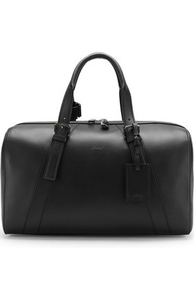 Мужская кожаная дорожная сумка с плечевым ремнем BRIONI черного цвета, арт. 0ISY0L/P6751 | Фото 1