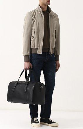 Мужская кожаная дорожная сумка с плечевым ремнем BRIONI черного цвета, арт. 0ISY0L/P6751 | Фото 2