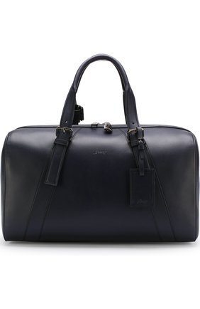 Мужская кожаная дорожная сумка с плечевым ремнем BRIONI темно-синего цвета, арт. 0ISY0L/P6751 | Фото 1