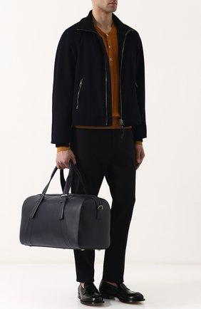 Мужская кожаная дорожная сумка с плечевым ремнем BRIONI темно-синего цвета, арт. 0ISY0L/P6751 | Фото 2