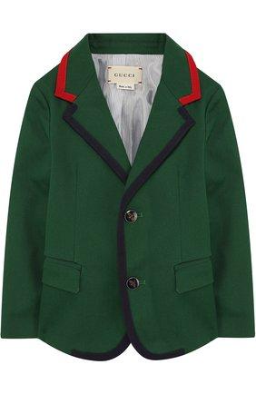 Хлопковый пиджак на двух пуговицах с контрастной отделкой | Фото №1