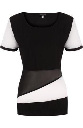 Приталенная футболка с круглым вырезом NATAYAKIM черно-белого цвета | Фото №1