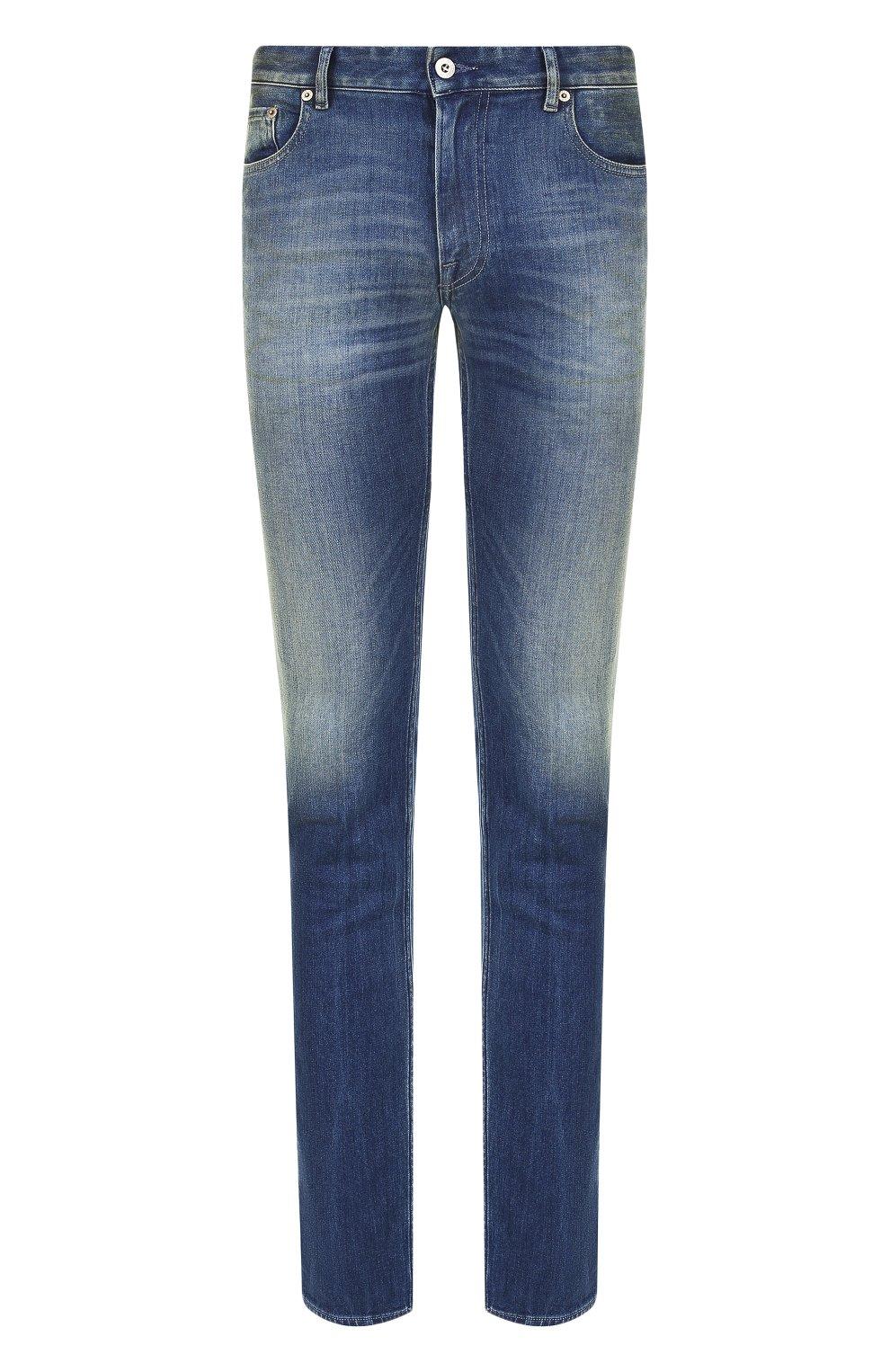 Мужские джинсы прямого кроя с потертостями STONE ISLAND синего цвета, арт. 6815J2ZN4 | Фото 1