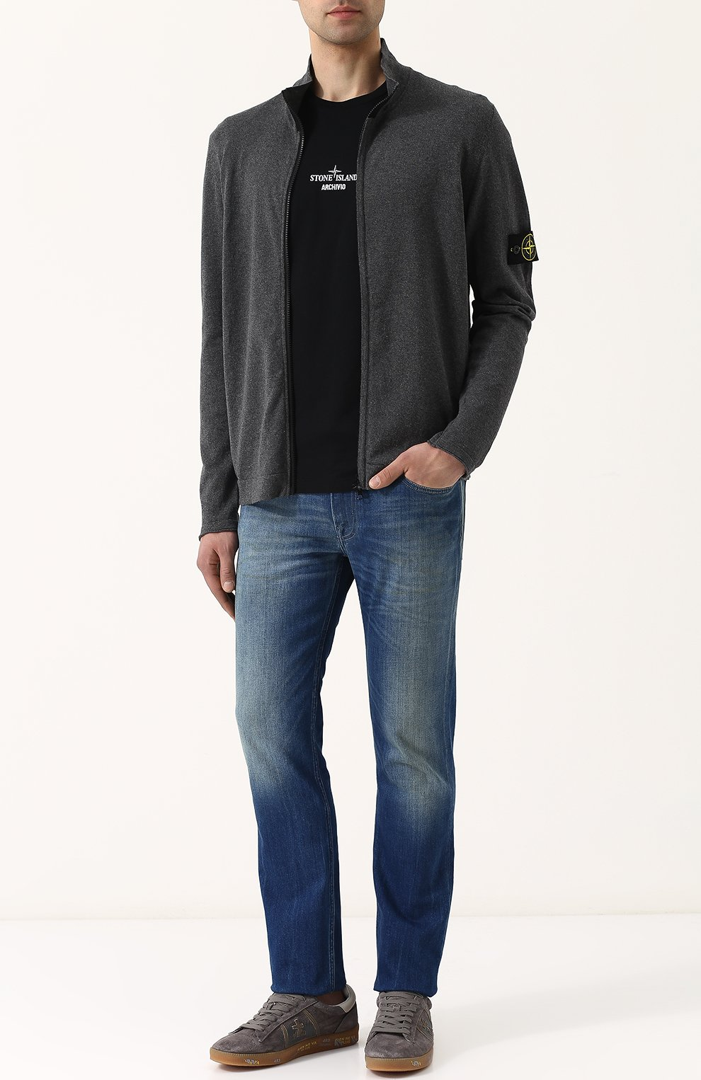 Мужские джинсы прямого кроя с потертостями STONE ISLAND синего цвета, арт. 6815J2ZN4 | Фото 2