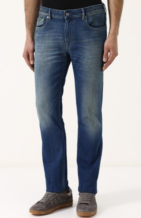 Мужские джинсы прямого кроя с потертостями STONE ISLAND синего цвета, арт. 6815J2ZN4 | Фото 3