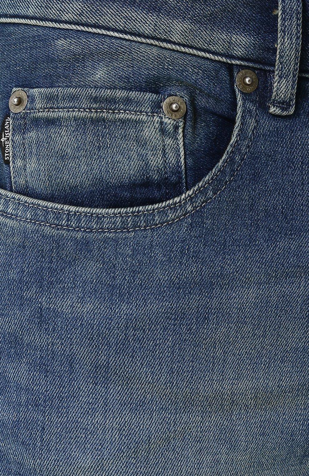 Мужские джинсы прямого кроя с потертостями STONE ISLAND синего цвета, арт. 6815J2ZN4 | Фото 5