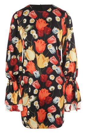 Шелковое мини-платье с цветочным принтом | Фото №1