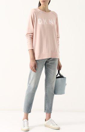 Свитшот свободного кроя с надписью DKNY розовый | Фото №1