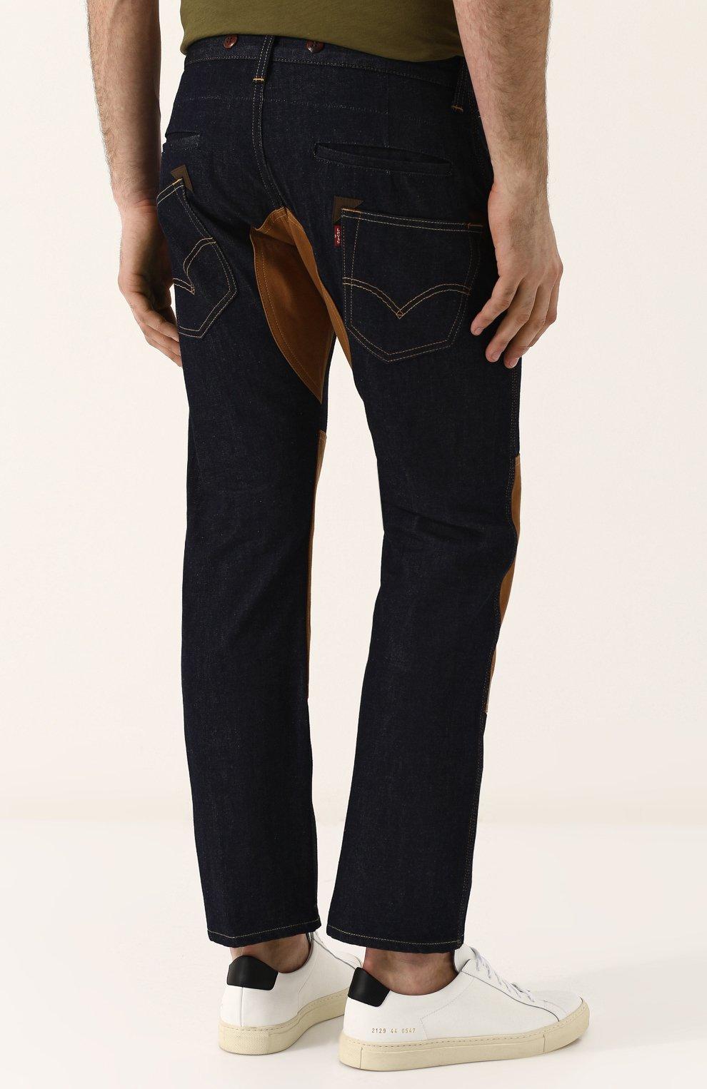 Мужские джинсы прямого кроя с отделкой junya watanabe x levi's JUNYA WATANABE синего цвета, арт. WA-P209-051 | Фото 4