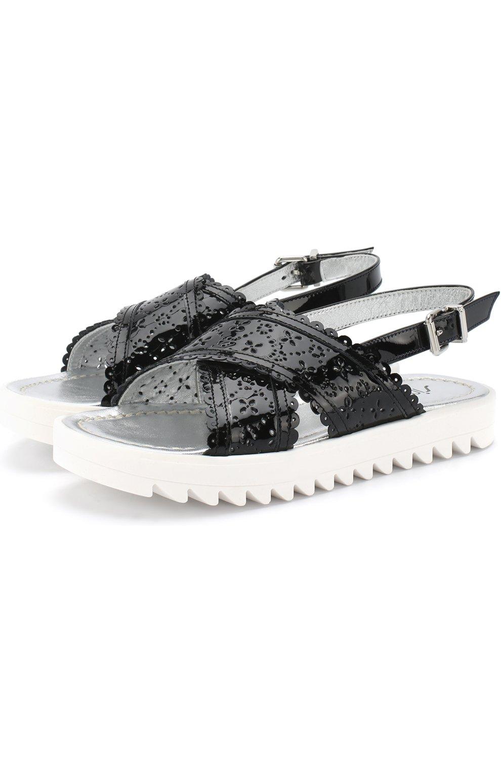 Детские лаковые сандалии на ремешке с перфорацией SIMONETTA черного цвета, арт. 54752/36-41   Фото 1