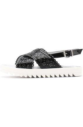 Детские лаковые сандалии на ремешке с перфорацией SIMONETTA черного цвета, арт. 54752/36-41   Фото 2