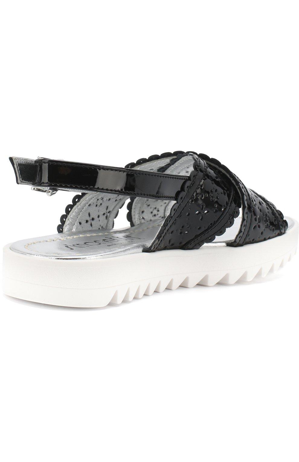 Детские лаковые сандалии на ремешке с перфорацией SIMONETTA черного цвета, арт. 54752/36-41   Фото 3