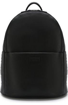 Мужской однотонный кожаный рюкзак GIORGIO ARMANI черного цвета, арт. Y20091/YDN1J   Фото 1