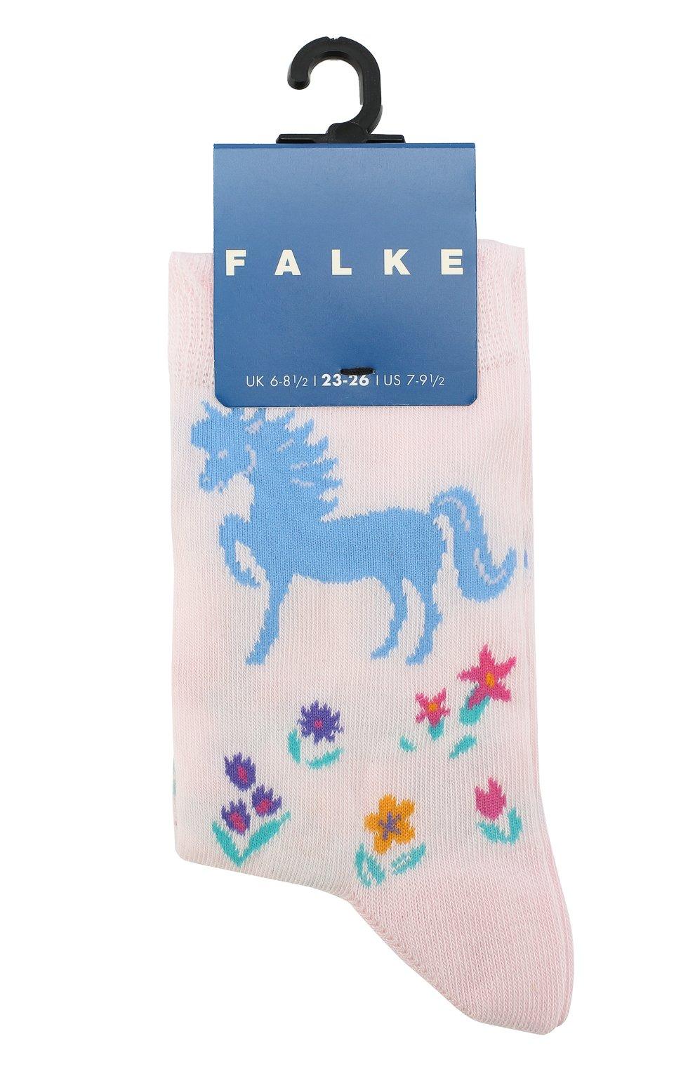 Детские носки с принтом FALKE светло-розового цвета, арт. 12070 | Фото 1