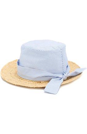 Детская шляпа из рафии с текстильной отделкой с бантом ARMANI JUNIOR голубого цвета, арт. 394543/8P504 | Фото 2