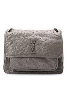 Женская сумка niki large SAINT LAURENT серого цвета, арт. 498883/0EN04 | Фото 1 (Материал: Натуральная кожа; Размер: large; Ремень/цепочка: С цепочкой, На ремешке; Сумки-технические: Сумки через плечо)