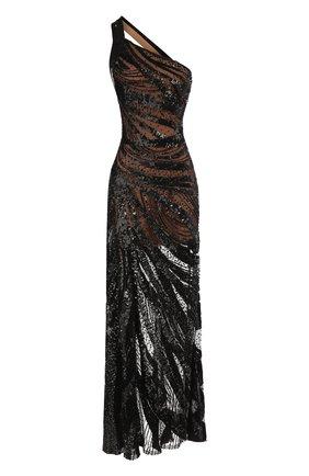 Приталенное платье-макси с открытым плечом Elie Saab розовое | Фото №1