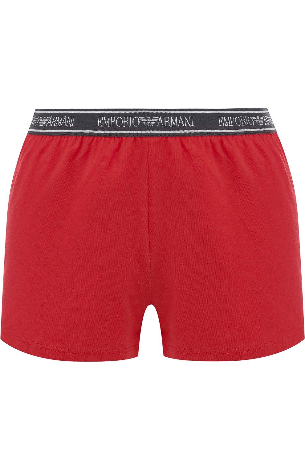 Женские хлопковые мини-шорты с эластичным поясом EMPORIO ARMANI красного цвета, арт. 164077/8P317 | Фото 1