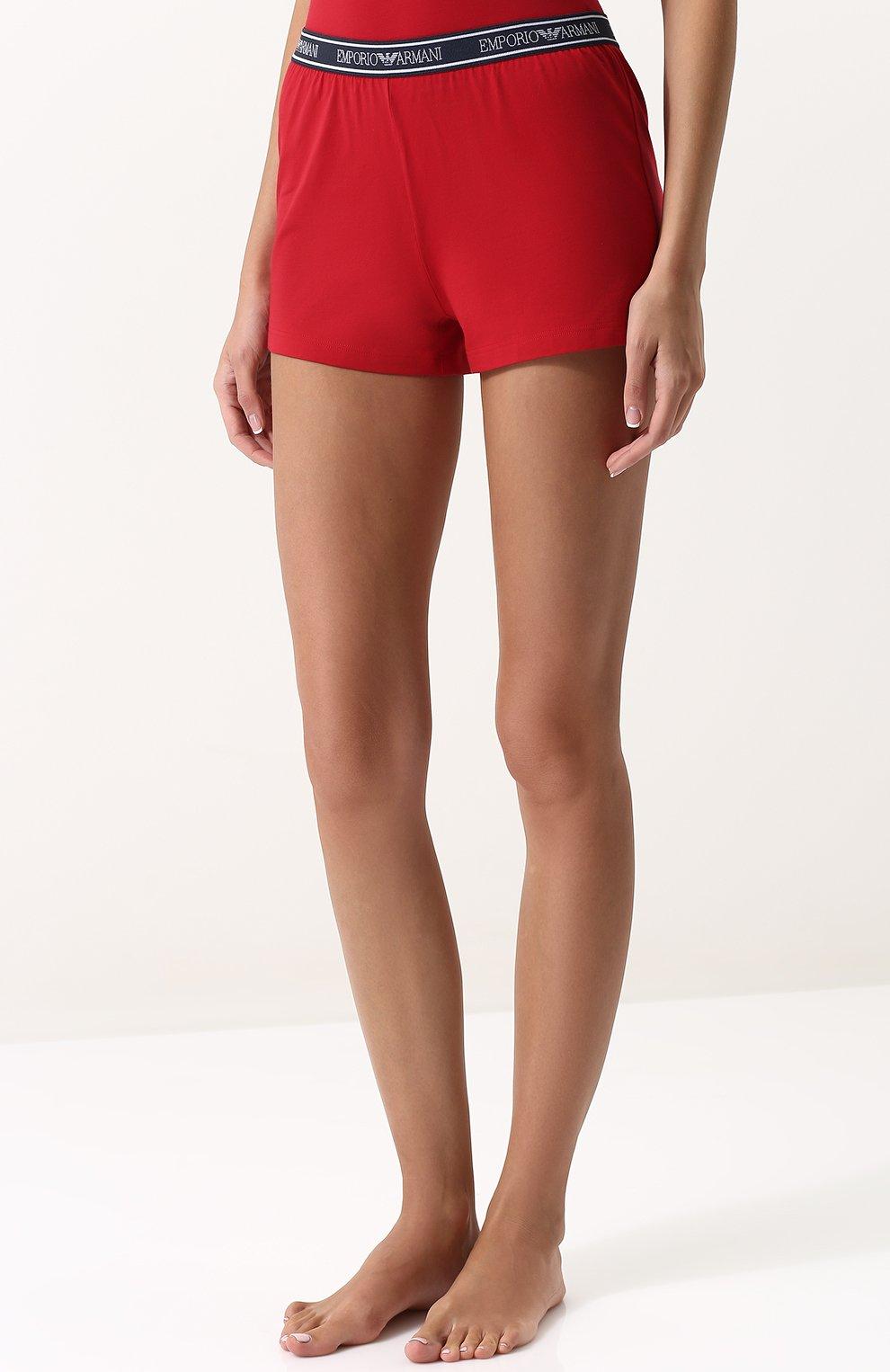 Женские хлопковые мини-шорты с эластичным поясом EMPORIO ARMANI красного цвета, арт. 164077/8P317 | Фото 3
