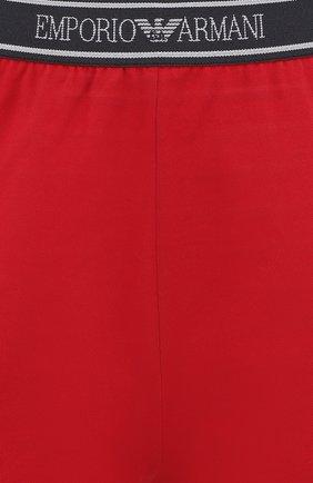 Женские хлопковые мини-шорты с эластичным поясом EMPORIO ARMANI красного цвета, арт. 164077/8P317 | Фото 5