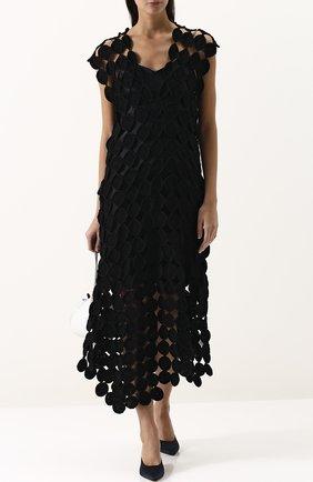 Хлопковое кружевное мини-платье Tse черное | Фото №1
