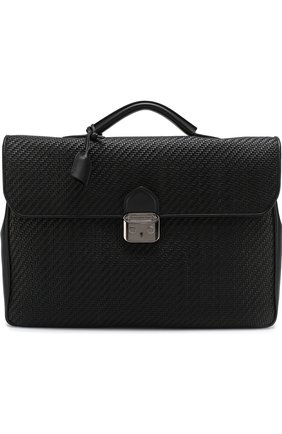 Кожаный портфель с плечевым ремнем Ermenegildo Zegna черный | Фото №1