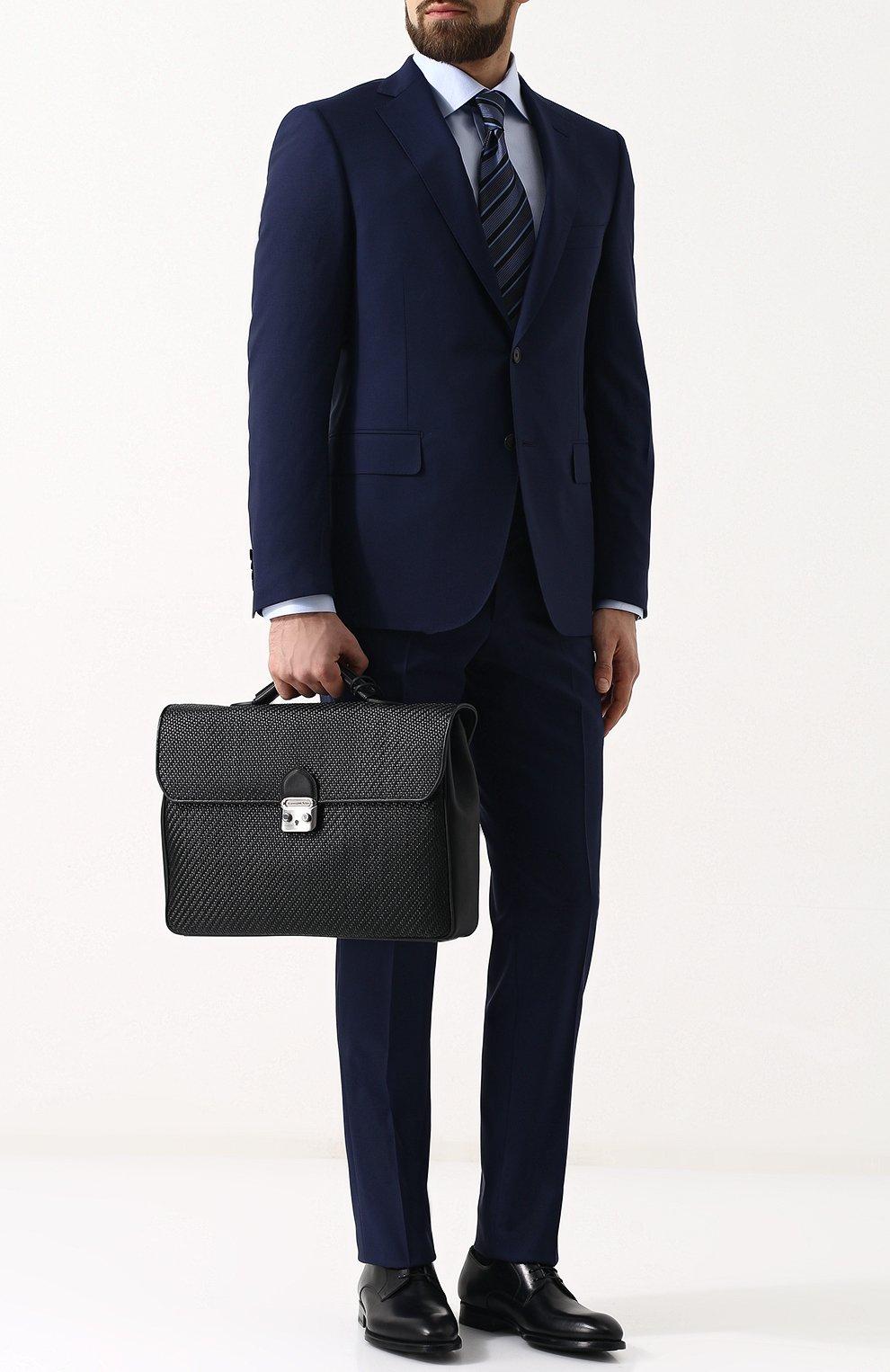 Кожаный портфель с плечевым ремнем Ermenegildo Zegna черный | Фото №2
