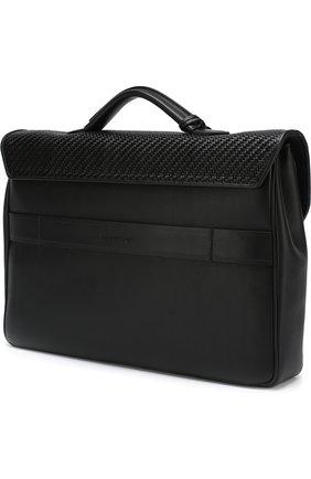 Кожаный портфель с плечевым ремнем Ermenegildo Zegna черный | Фото №3