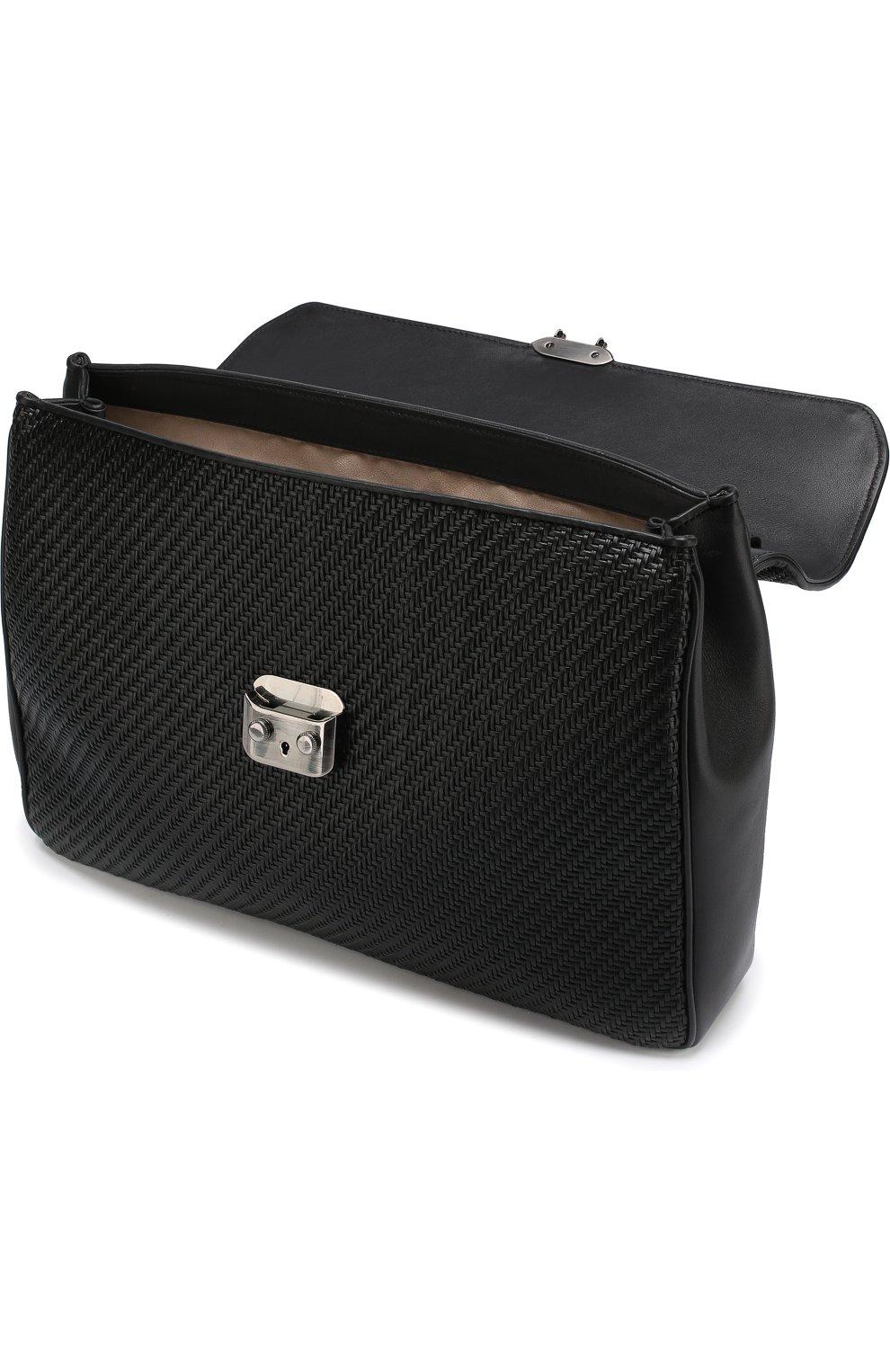 Кожаный портфель с плечевым ремнем Ermenegildo Zegna черный | Фото №4