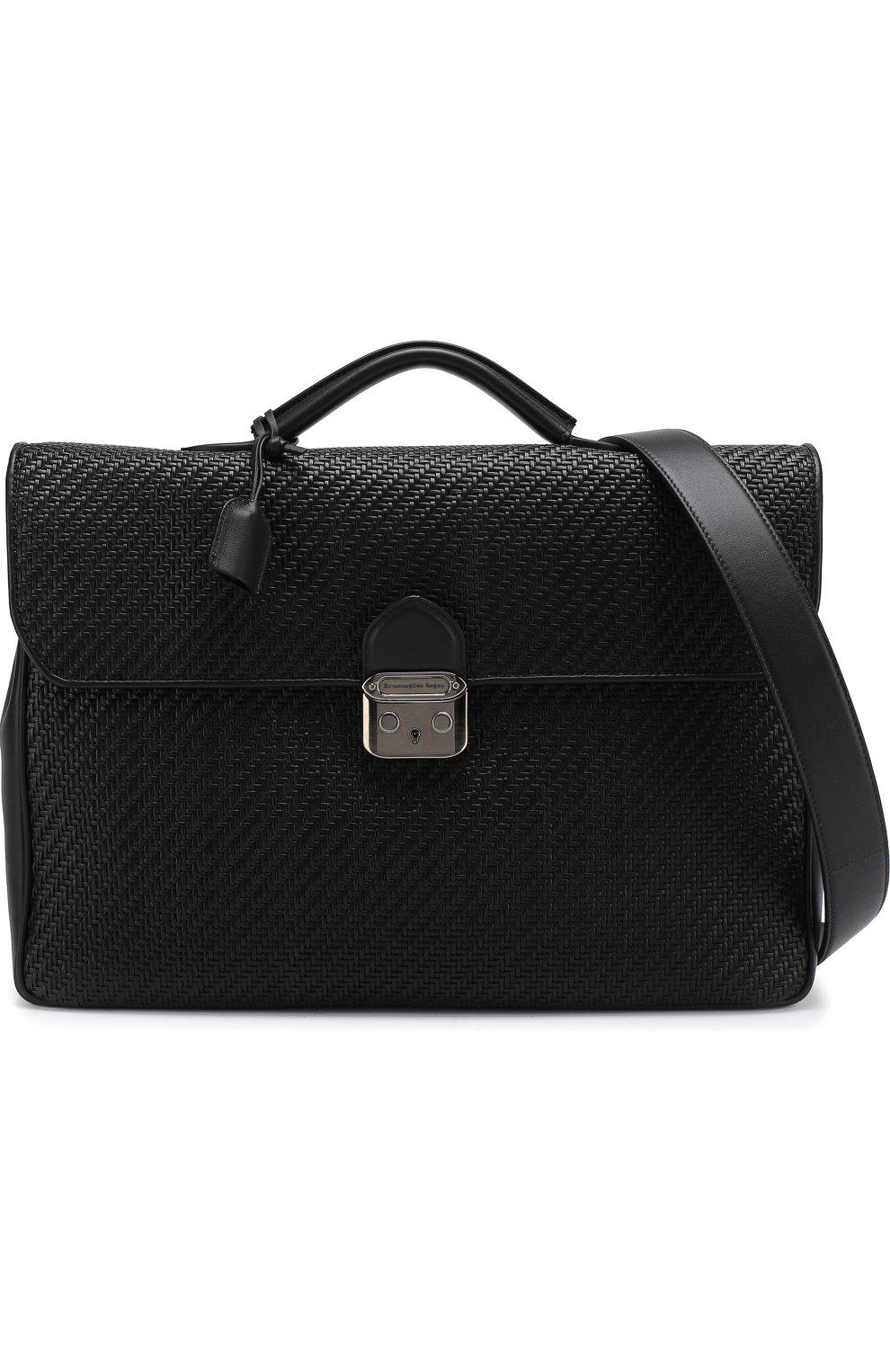 Кожаный портфель с плечевым ремнем Ermenegildo Zegna черный | Фото №5