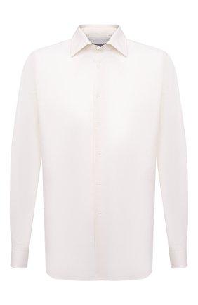 Мужская хлопковая сорочка CANALI кремвого цвета, арт. 705/GA60135 | Фото 1 (Длина (для топов): Стандартные; Рукава: Длинные; Материал внешний: Хлопок; Принт: Без принта, Однотонные; Воротник: Акула; Случай: Формальный; Рубашки М: Regular Fit; Манжеты: На пуговицах)