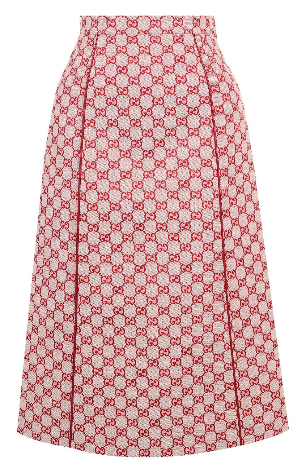 Женская хлопковая юбка-миди с логотипом бренда GUCCI красного цвета, арт. 512875/ZKD86   Фото 1