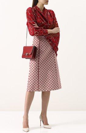 Женская хлопковая юбка-миди с логотипом бренда GUCCI красного цвета, арт. 512875/ZKD86   Фото 2