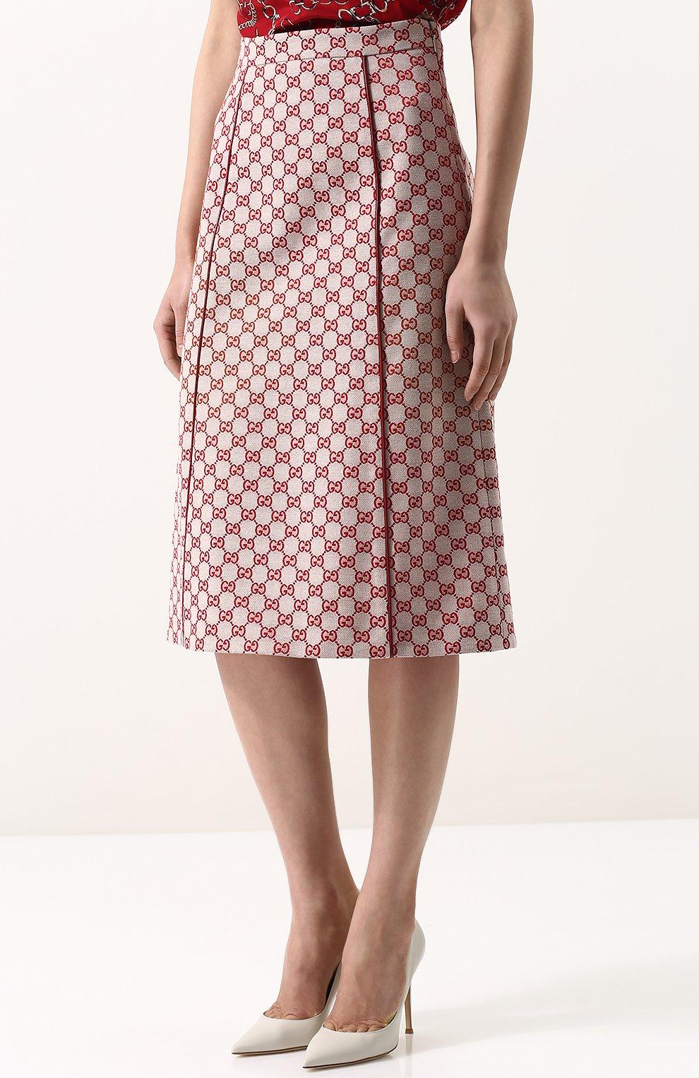 Женская хлопковая юбка-миди с логотипом бренда GUCCI красного цвета, арт. 512875/ZKD86   Фото 3