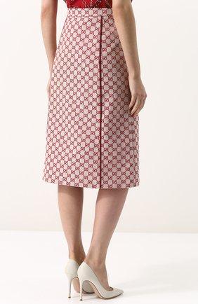 Женская хлопковая юбка-миди с логотипом бренда GUCCI красного цвета, арт. 512875/ZKD86   Фото 4